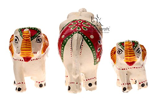 Dreamkraft Set Of 3 White Elephant Showpiece For Home Dã©Cor And Gift Purpose