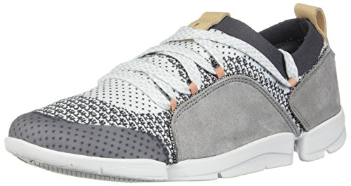 (CLARKS Womens Tri Amelia Grey Combi Sneaker - 8.5)