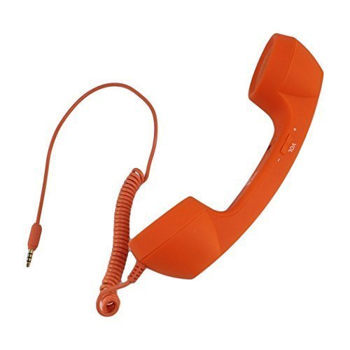 UNMCORE Premium Quality Best in Class Hot Sale Anti-radiation Retro Style 3.5mm Jack Wired Handset Phone iPhone 5/5c/5s/4/4s/HTC/Samsung/Nokia/Blackberry/Sony/LG with Speaker and Microphone Orange - 3 Years Warranty  available at amazon for Rs.549