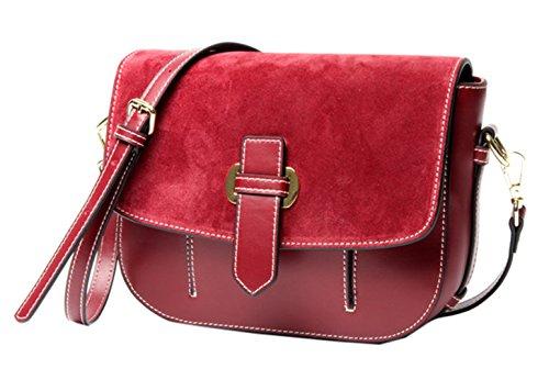 SAIERLONG Nuovo Donna Nero Vera Pelle Borse Crossbody Sacchetti di spalla Rosso