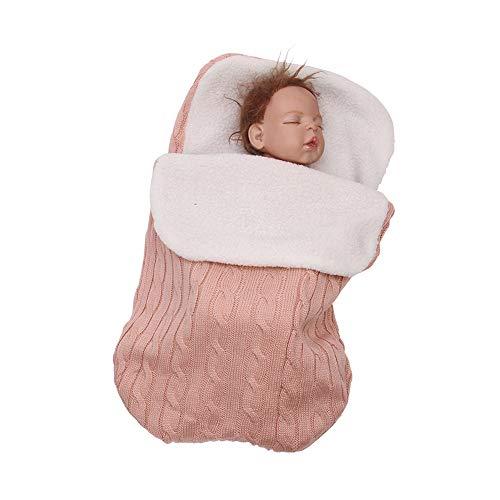 Neugeborene Baby Decke Baby-Strick Weiche Warme Vlies Gefüttert Decke Dicken Schlafsack Baby-Kinderwagen Unisex Boy Girl,Pink -