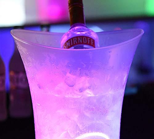 ECOJAS LED Eiskübel Farbwechsel Kühler Eimer Runde Bar Bier RGB Eiskübel Champagner Weinkühler Getränkekühler Bier Eimer Für KTV Party Bar Hause Hochzeit -5 L (batterien Nicht enthalten)
