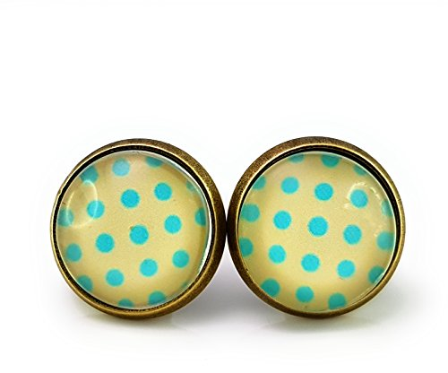 Ohrstecker Handmade Punkte Polka Dot Rockabilly Punk Blua Weiß Crem Farben Cabochon Bronze kitsch kawaii Damen Kinder 50er Jahre Oldschool 14mm 1 Paar Nickelfrei (Punk-polka Dot)