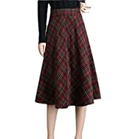GAGA Women Thick Vintage High Waist A-line Woolen Plaid Skirt 1 XL