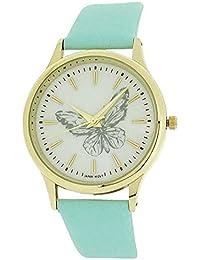Montre Reflex Analogique Femme Bracelet Bleu & Cadran Blanc avec Papillon