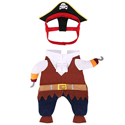 HDE Piratenkostüm für Hunde, Halloween, für Karibik, Seehunde, Größe S bis L, Large, - Familienfreundliche Kostüm