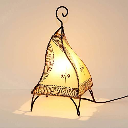 Marrakesch Fatuta - Lámpara de henna de piel marroquí (35 cm, estructura de metal forjada a mano, pantalla de piel pintada a mano)