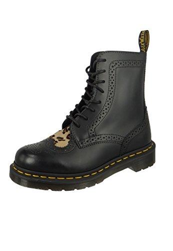 Bentley-leder (Dr Martens Women's Bentley II Heart Leather Boot Black/Medium Leopard Size 3)