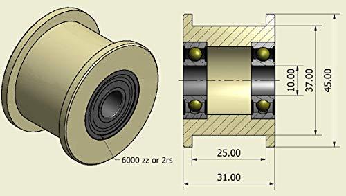 4 Stück Nylon Gurtspanner 45 mm Ø 25 mm Nut 10 mm Lager exakt in der EU gefertigt (45-25-10)