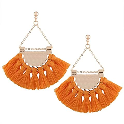 BZLine ®Special Design Fashion Bohemian Earrings Elegant Women Long Tassel Fringe Dangle Alloy + Tassel Earrings Jewelry (Yellow)