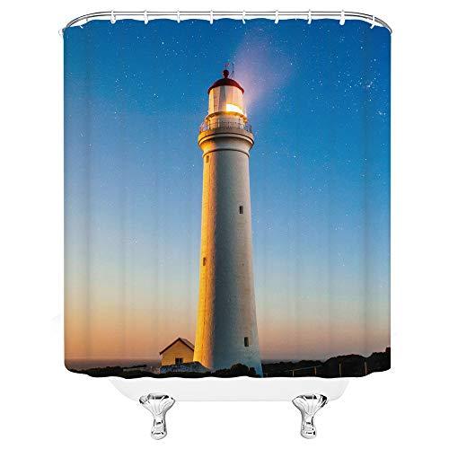 asadsafe Sonnenuntergang-Leuchtturm-Haus-Fahnenmast-Holz-Abhang-schöner hochwertiger Duschvorhang, mildewproof und wasserdichter Langer Duschvorhang