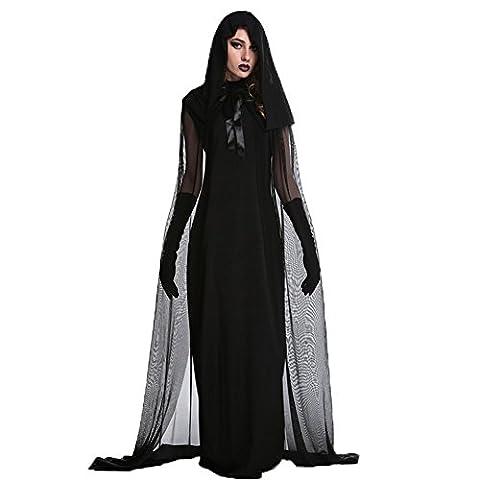 Costour Damen Kostüm für Karneval Halloween Zombie Braut Halloween Vampir Kostüm Dress Set (Vampire Zombie-kostüme)