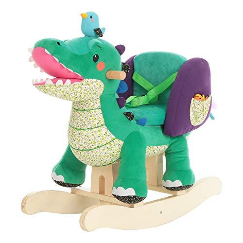 labebe Child Rocking Horse Toy,Green Crocodile Rocker Plush for Kid 1-3 Years,Wooden Rocking Horse/Stuffed Animal/Baby Rocker Horse/Child rocking toy