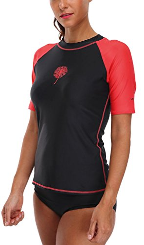 Attraco Damen Schwimmshirt Kurzarm UV Shirt Rash Guard Badeshirt UPF 50+, Schwarz, 38 -