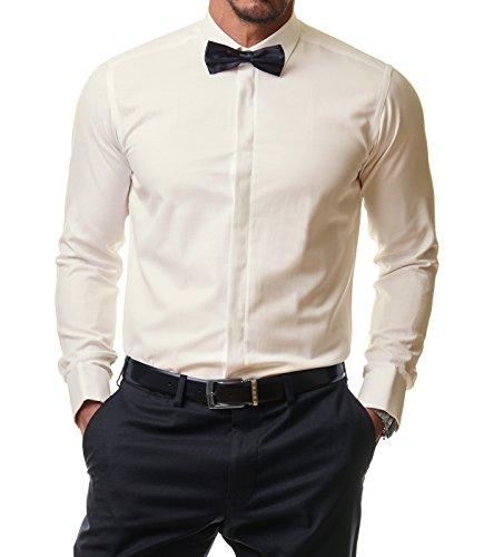 Paco Romano Herren Hemd Smoking Anzug Klassik Business Langarm Fliege Manschettenknöpfe Bügelleicht Hochzeit Premium Slim Fit Shirt PR6615, Farbe:Beige, Größe:37 / S