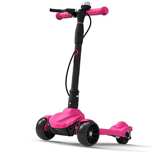 Patinetes Scooter Plegable con Freno de Mano para Girl Boy - Kick Scooters para niños de 3 a 15 años, encienda Las Ruedas, Soporte 80 kg, Color Opcional (Color : Pink)