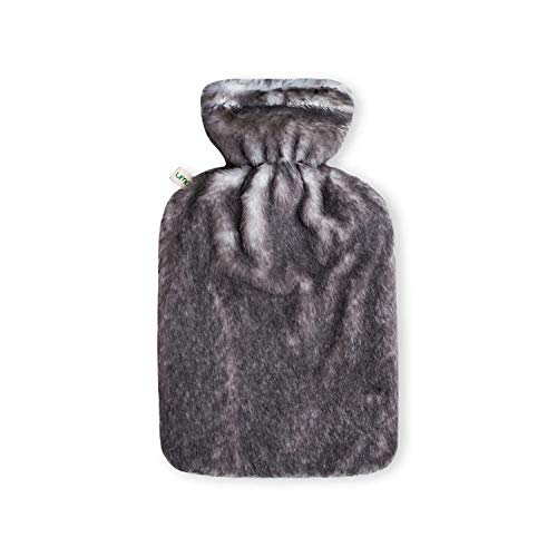 Bottiglia in PVC per Acqua Calda da 2 Litri con Rivestimento in morbidissimo pelo artificiale'Coniglio', color grigio argento. con Cerniera - Modello 2020