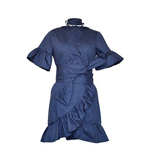 YYF Femme Fille Robe Sex Midi Feuille de Lotus Elegant V col bleu fonce