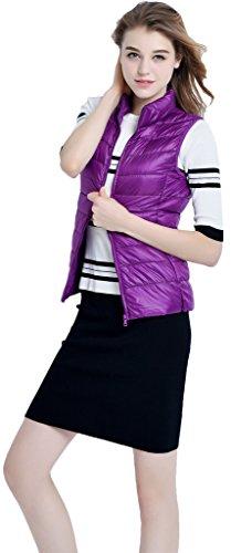 Sawadikaa Damen Gefüttert Ultra Leicht Verpackbar Kissen Puffer Daunen Jacke Weste Bodywarmer Violett