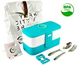 Bento Lunch Box - Leakproof, Dishwasher and Microwave Safe with Lunch Bag, Stainless