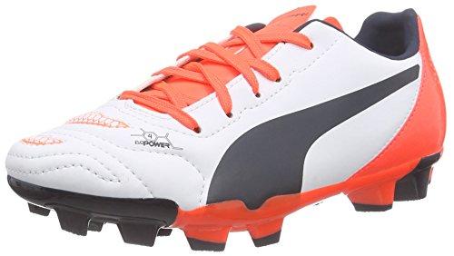 Puma evoPOWER 4.2 FG Unisex-Kinder Fußballschuhe Weiß (white-total eclipse-lava blast 05)