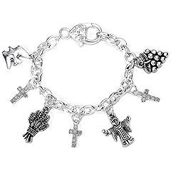 Idea Regalo - Set regalo con braccialetto per bambina, per Prima comunione/Cresima