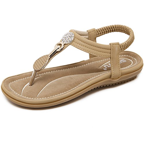 Amazing saison d'été Talon Hauteur 2.5 cm D'été Strass Clip Toe Sandales Confortable Plat Bas Doux Set Pied Style Ethnique Chaussures Grande Taille (Taille Optionnelle) casual
