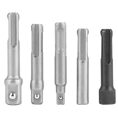 3 piezas SDS Plus adaptador de enchufe de acero + 2 piezas SDS Socket Hex taladro de extensión brocas Set Cromo Vanadio Acero Eléctrico Herramienta Accesorios