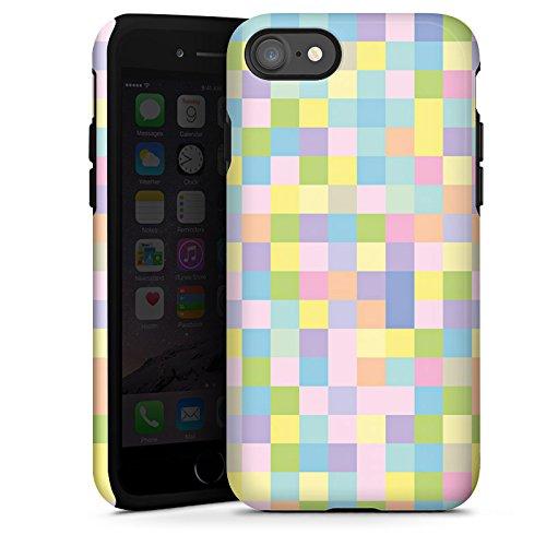 Apple iPhone X Silikon Hülle Case Schutzhülle Muster Bunt Pixel Tough Case glänzend