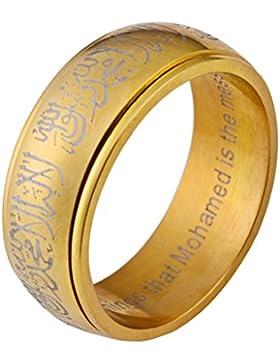 PAURO 316L Edelstahl Muslim Spinner Ring Band mit Shahada in Arabisch und Englisch Schwarz/Gold