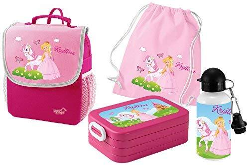 Mein Zwergenland Set 5 Kindergartenrucksack mit Brotdose, Turnbeutel aus Baumwolle und Trinkflasche Happy Knirps Next mit Name Prinzessin, 4-teilig, Pink