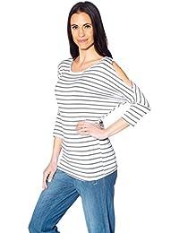 Entspanntes Damen Shirt runder Ausschnitt 3/4 Ärmel ausgeschnitter Schulterbereich gestreift