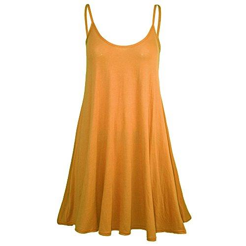 IMJONO Frauen Kleid, Ärmelloses, lässiges Damen Minikleid(Small,Orange)