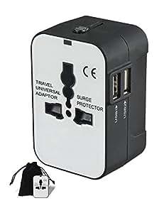SMING Caricatore da viaggio universale, adattatore AC da parete con spina, doppia porta USB per USA, Europa, UK e Australia