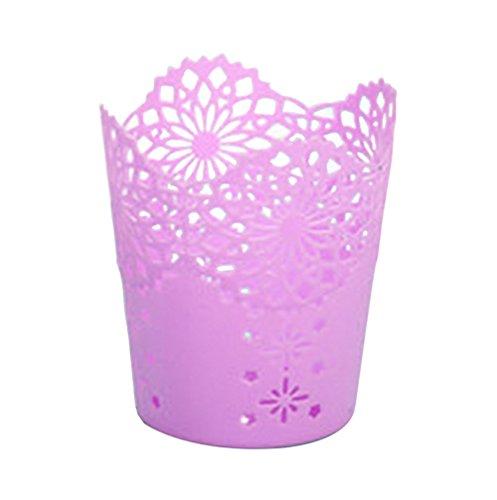 Cdet 1x Stifthalter mit wunderschönem Blumen-Muster, unregelmäßiger Stifte-Becher für den Schreibtisch, lila