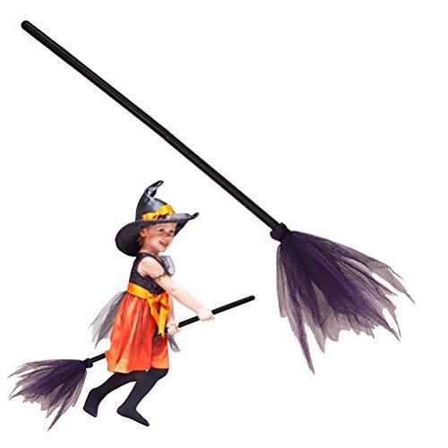 Ysoom Hexenbesen Zauberbesen Halloween Deko Karneval Accessoire - Länge: ca. 89 cm Hexenzubehör für Kinder und Erwachsene