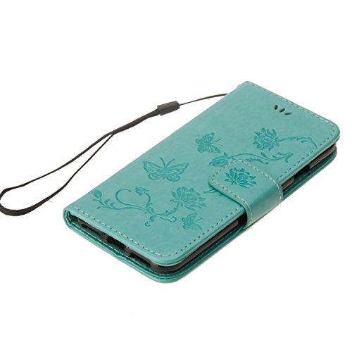 Custodia per iPhone 6 Plus/iPhone 6s Plus (5.5), EUWLY Book Style PU Leather Custodia Case Cover Per iPhone 6 Plus/iPhone 6s Plus (5.5) Portafoglio Custodia Goffratura Ragazza di Farfalla Shell Cove Verde