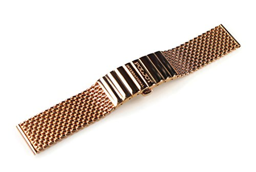 POLJOT International Uhrenarmband Metall 18mm Rosé-Gold Edelstahl Milanaise-Band Länge 13cm gerader
