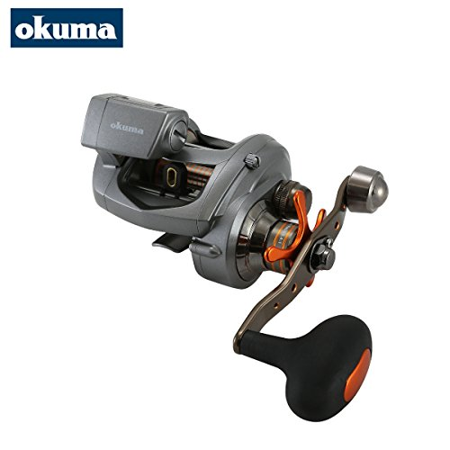 Okuma Coldwater LP CW-354DLX Linkshand Multirolle, Schnurfassung 250m 0,33mm, Meeresrolle, Angelrolle für Norwegen, Island, gelbes Riff