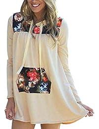 Longra Damen Hoodie Sweatshirt Herbst Langarm Blumendruck Pullover mit  Kapuzen Tops Bluse 84ca7f1472