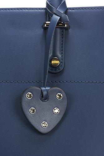 Laura Moretti - Borsa in pelle con chiusura a zip (stile TOTE) Blu