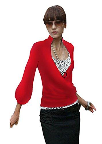 Amri Japan Style von Mississhop Damen Wickelbluse Bluse 3/4 arm Tunika Longshirt mit Stehkragen Shirt Rot XL