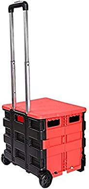 Folding Two-Wheeled Cart Tool Carrier with Cover Plastic Lightweight Portable for Shopping, Picnic, Travel (Bl