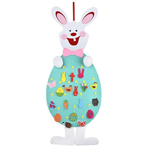 Coniglio di pasqua, funpa feltro coniglio decorazione di feltro fai da te con ornamenti da 18 pezzi decorazione da parete con corda appesa per i bambini regali di pasqua decorazione della porta di casa