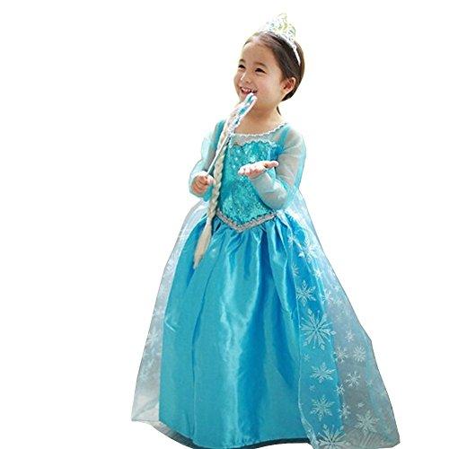 Das beste Eiskönigin Prinzessin Kostüm Kinder Glanz Kleid Mädchen Weihnachten Verkleidung Karneval Party Halloween (Mädchen Kleid Hochzeit Film Cinderella)