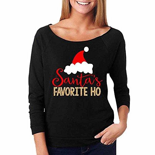 (iHENGH Karnevalsaktion Weihnachten Damen Frauen Weihnachten Casual Print Bluse Mode Tops Pullover Sweatshirt(M,Schwarz))