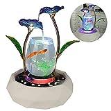 MC.PIG Aquarium Fischbecken Fließendes Wasser Ornamente Aquarium Wohnzimmer TV Cabinet Home Decoration Keramik Brunnen Wasser Landschaft Familie Möbel Handwerk (Farbe : Blau)