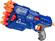 Popsugar Manual Blazer Gun with 2 Modes of Firing and 10 Foam Bullets for Kids, Blue