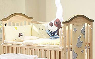 BabyTeddy's 9 in 1 Convertible Bruno-The Dog Baby Crib Wooden Cot Bed Swing Desk with 6 Piece Bedding Set and Mosquito Net