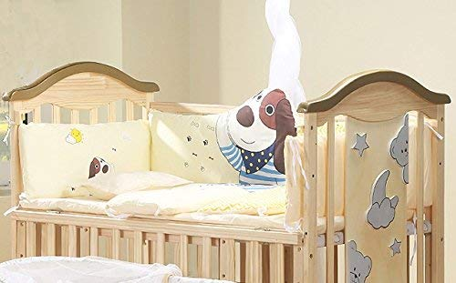 BabyTeddy's 9 in 1 Bruno-The Dog Baby Wooden Crib Cot with Bedding& Mosquito Net